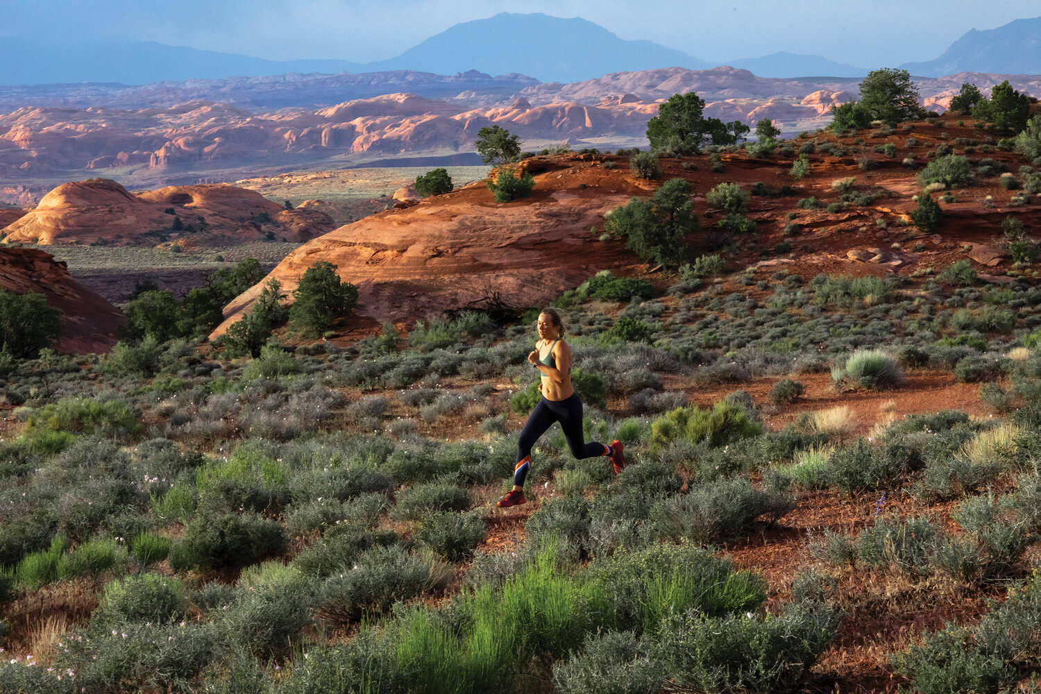 Running along the Paiute Strip. Photo by Stephen Eginoire